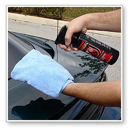 Use a clean microfiber detailing towel to wipe off product, even if you can't see residue. Complete one section before moving on to the next.