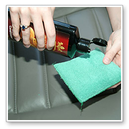 Apply cleaner or conditioner to leather