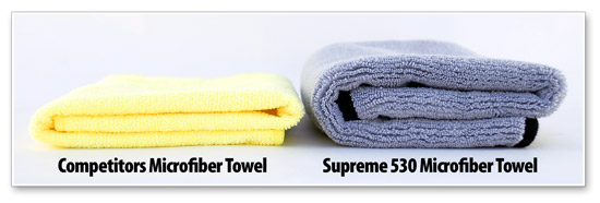 The Cobra Supreme Microfiber is twice as thick as microfiber buffing towels from other companies.