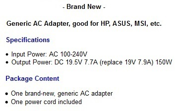 ASUS ROG G53JW laptop PC computer power supply ac adapter cord cable ...