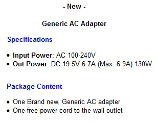 DEll Vostro 330 360 desktop computer power supply ac adapter cord ...
