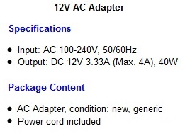 HP Pavilion 22xi LED computer Monitor power supply ac adapter cord ...