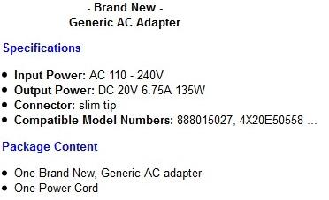 Details about Lenovo 135W 20 Volt 6 75 Amps slim tip notebook desktop power  supply ac adapter