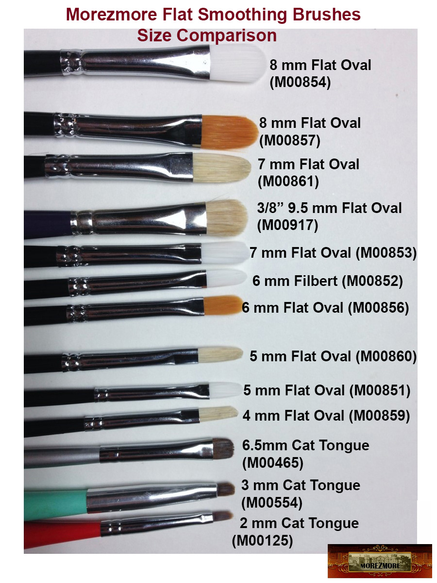 M00857 MOREZMORE #4 Art Paint Filbert Brush 8mm Gold Flat Oval Clay Tool A60