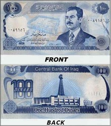 100 Dinar Mint Note with Saddam Hussein - 1993