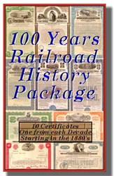 11 Historic Railroad Certificates 100 Years of Railroads - 1880's to 1980's includes signed Vanderbilt BONUS!