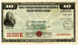 $10 War Savings Bond Series E Schwan 231