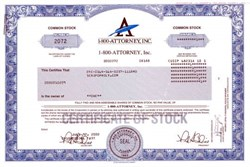 1-800-Attorney, Inc. Stock Certificate - Stock suspended by the Securities and Exchange Commission