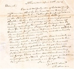 Potomac and Shenandoah Navigation Lottery letter signed by Col. Charles Simms - 1812