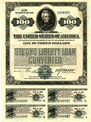 $100 Second Liberty Loan, Converted Bearer Bond  4 ¼%  - RARE (All coupons attached) EF - Washington, D.C. May 9, 1918