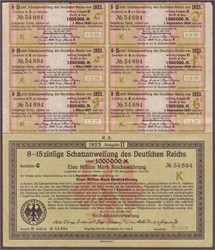1923 Berlin, Germany: 1,000,000 Mark Treasury Bond - uncancelled, with coupons