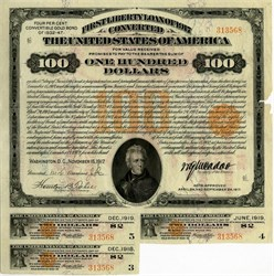$100 First Liberty Loan of 1917, Converted Bearer Bond  4 %  - RARE (3 of 4 coupons attached) Crisp - Washington, D.C. November 15, 1917
