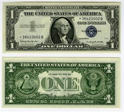 * SCARCE  Star Note - $1 Silver Certificate Uncirculated Mint - United States of America - 1957