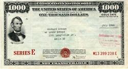 $1000 United States Post War Savings Bond - WWll 1946