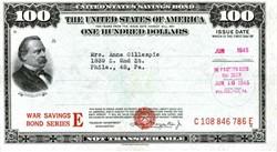 United States $100 War Savings Bond Series E - 1945
