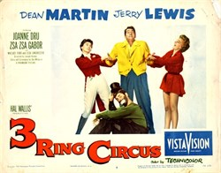 3 Ring Circus Lobby Card Starring Dean Martin and Jerry Lewis - 1954