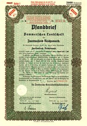 Pommersche Landschaft Reichsmark  - Mortgage Bond - Stettin, Germany WWII Era (1940 - 1944)