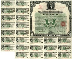 $50 3 1/4% Bearer Treasury Bond April 16, 1934. Lovely bond, with all coupons. RARE