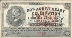 Ringling Bros. Show Ticket - 50th Anniversary Celebration - Baraboo, Wisconsin 1933