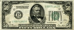 """$50 Federal Reserve Note - Printed """"Redeemable in Gold"""" - 1928"""