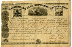 Mackinac and Lake Superior Copper Co. issued stock certificate - RARE -  Michigan 1845