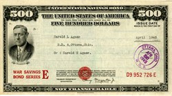 $500 United States War Savings Bond - WWll 1945