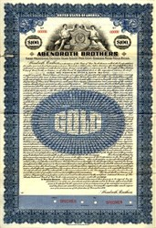 Abendroth Brothers (foundry - manufactured iron stoves) Specimen Gold Bond - Portchester, New York 1920