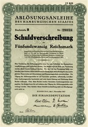 Ablösungsanleihe des Hamburgischen Staates (Uncancelled) Bond of the Hamburg State) Germany 1927