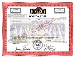 Ackeeox Corporation (Ox in logo)  - Florida 2000
