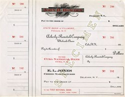 Specimen checks from John H. Holden, Ackerly-Renwick Company Wholesale Cheese and E. L. Jones- Cuba, New York 1910's