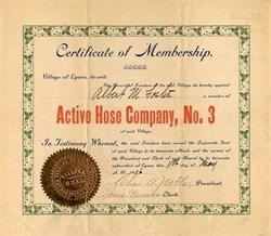 Active Hose Company, No. 3 - Lyons, Wayne County, New York - 1906