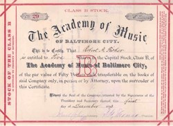 Academy of Music of Baltimore City - 1873