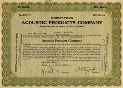 Acoustic Products Company - 1929