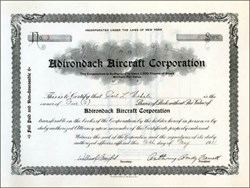 Adirondack Aircraft Corporation 1931 signed by Anthony Brady Farrell - New York