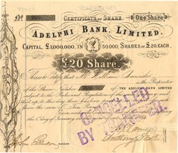 Adelphi Bank, Limited  (Acquired by Barclays Bank) - England 1863