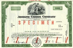 Adolph Coors Company IPO Shares - Colorado 1975