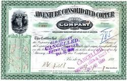 Adventure Consolidated Copper Company - Michigan 1899