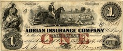 Adrian Insurance Company - Obsolete Currency - Michigan 1853