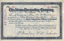 Adams Prospecting Company of Colorado signed by W. B. Dickerman, cofounder of Dominick & Dominick - 1880
