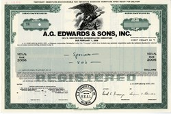 A.G. Edwards, Inc. Convertible Bond Specimen - 1981