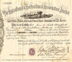 Agricultural & Horticultural Association Limited - Ireland 1872
