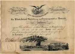 Rhode Island Society for the Encouragement of Domestic Industry signed by Governor - 1851