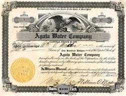 Agata Water Company - New York 1908