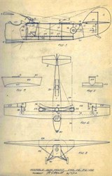 Original  Airplane and Gun Mount drawing signed by early designer Randolph Hall - 1923