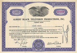 Albert Black Television Productions, Inc. - Delaware 1953