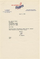 Los Angeles Dodgers Letter regarding Jerry Grote signed by Al Campanis - 1978