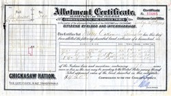 Allotment Certificate, Commission to the Five Civilized Tribes - United States 1904