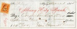 Albany City Bank (Civil War Era IRS Stamp ) - New York 1865
