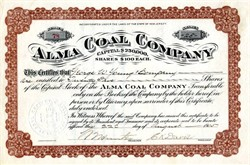 Alma Coal Company (Signed by Charles Ketterer Davis) - Wellston, Ohio   - New Jersey 1905