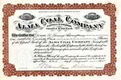 Alma Coal Company (Signed by Charles Ketterer Davis) - Wellston, Ohio   - New Jersey 1905